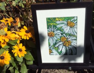 Painting By Irene Naested in flower garden at Art in the Garden Show and Sale